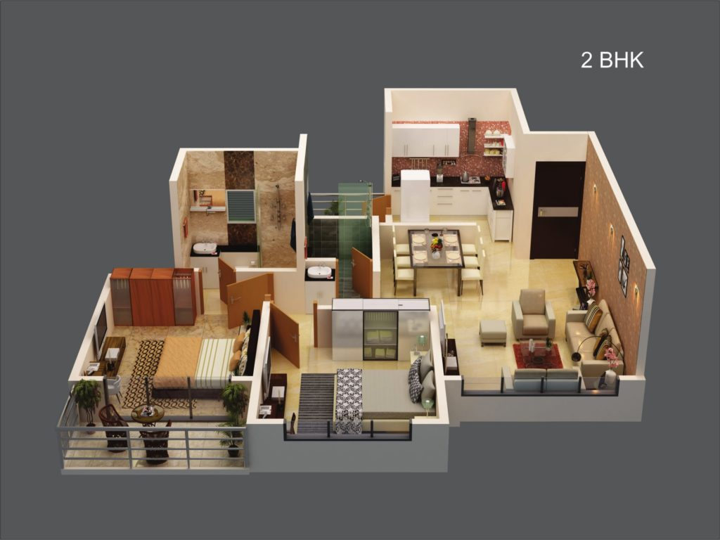 Ganga New Town ( 2bhk cut section)